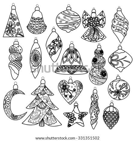 Christmas decoration collection. Vector, EPS10. - stock vector