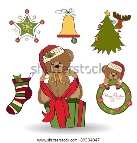 Christmas decoration elements set - stock vector