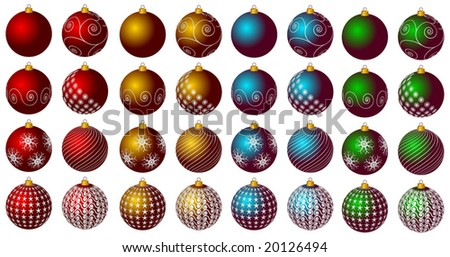 Christmas decoration elements - vector illustration - stock vector