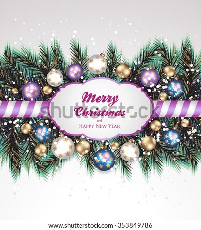 Christmas decoration-Fir and Christmas balls - stock vector