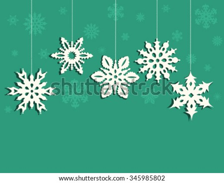 Christmas decoration from  snowflakes on blue background. Vector - stock vector