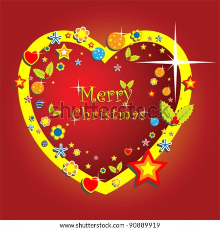 Christmas decoration in heart shape with word merry Christmas