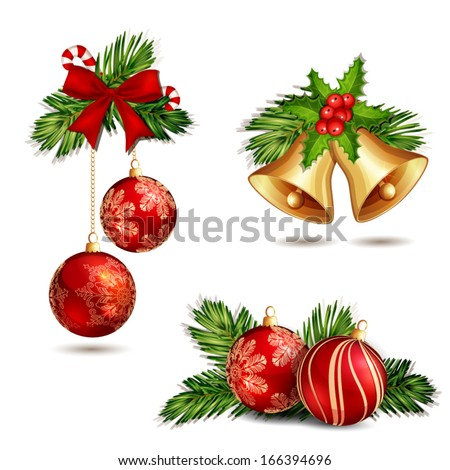 Christmas decoration isolated on white - stock vector