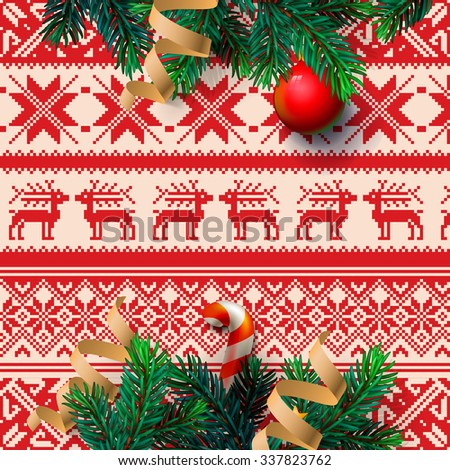 Christmas decoration on the ornamental background, vector illustration. - stock vector