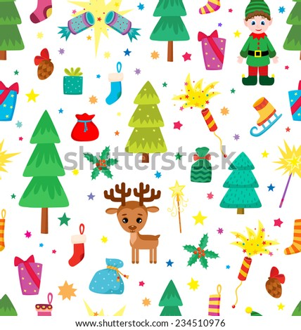 Christmas decoration seamless pattern. Background with graphic elements. Toys, hand drawn gifts, engraving fur-trees, deer and gifts socks. New Year vector.  - stock vector
