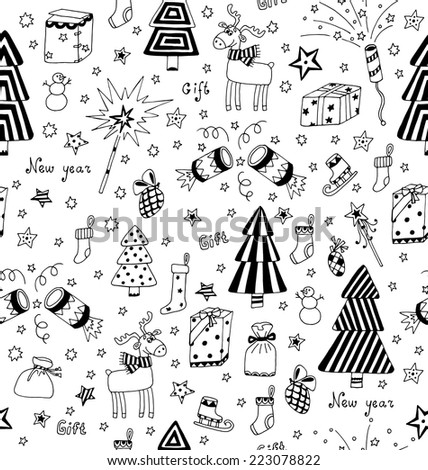Christmas decoration seamless pattern. Toys, hand drawn gifts, engraving fir-trees, deer and gifts socks. New Year vector.  - stock vector