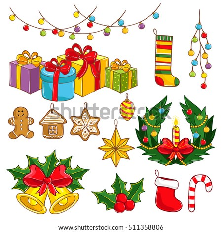 Christmas decoration set isolated on white background