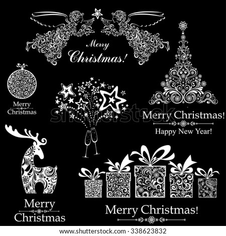 Christmas decoration set - lots of calligraphic elements, bits and pieces to embellish your holiday layouts. Collection of Christmas design elements isolated on black background. Vector illustration  - stock vector