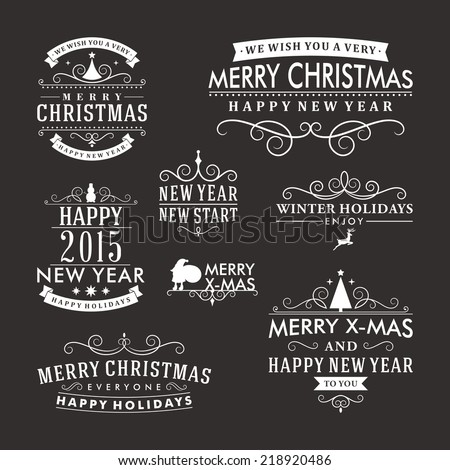 Christmas decoration set of calligraphic and typographic design elements, labels, symbols, icons, objects and holidays wishes - stock vector