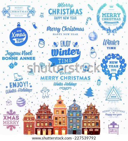 Christmas Decoration Set of Calligraphic and Typographic Design. Labels, Symbols and Icons Elements for Xmas Cards and Posters. Winter Landscape Background with Snowflakes and Town. - stock vector