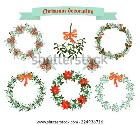 Christmas decoration .  set of elements. vector illustration - stock vector