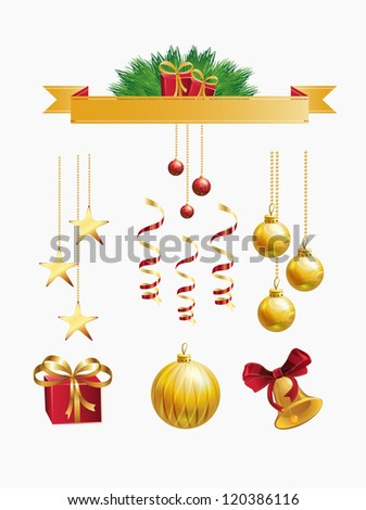 christmas decoration set, vector illustration - stock vector