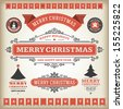 Christmas decoration vector design elements collection. Typographic elements, vintage labels, frames, ribbons, set. Flourishes calligraphic.  - stock