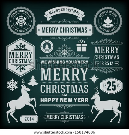 Christmas decoration vector design elements collection. Typographic elements, vintage labels, frames, ribbons, chalk set. Flourishes calligraphic.  - stock vector