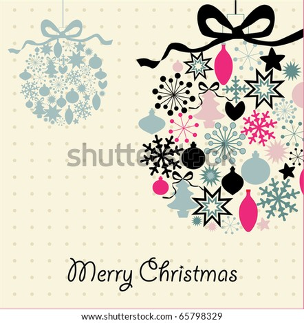 Christmas decoration , vector illustration card - stock vector
