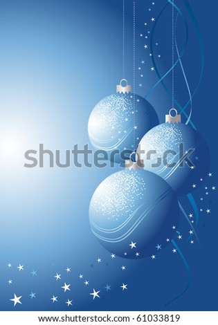 Christmas decoration with blue baubles