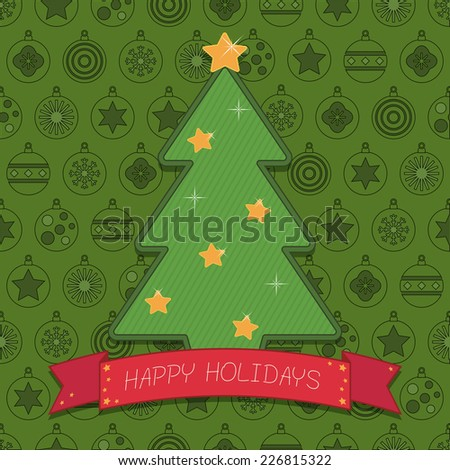 christmas decoration with christmas tree and ribbon on bauble pattern background - stock vector