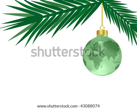 Christmas Decoration with Crystal Earth Ornament (Vector) - stock vector