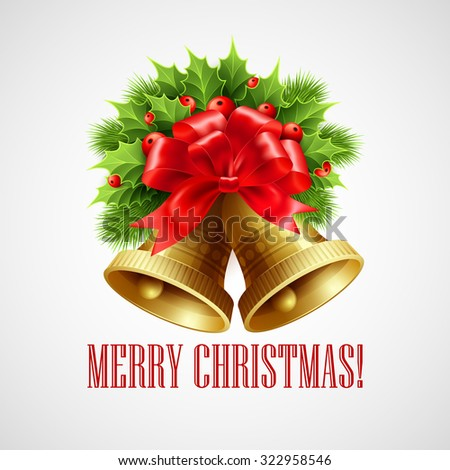 Christmas decoration  with evergreen trees, holly and bells. Vector illustration EPS 10 - stock vector