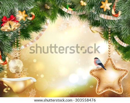 Christmas decoration with fir branches on gold bokeh. EPS 10 vector file included - stock vector