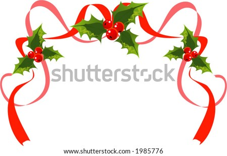 Christmas decoration with holly and ribbons - stock vector