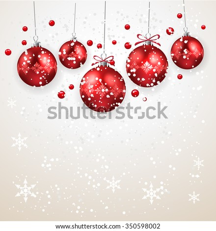 Christmas decoration with red Christmas balls - stock vector