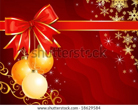 Christmas decoration with ribbon / holiday background / vector / The layers are separated