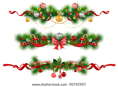 Christmas decoration with  spruce  tree - stock vector