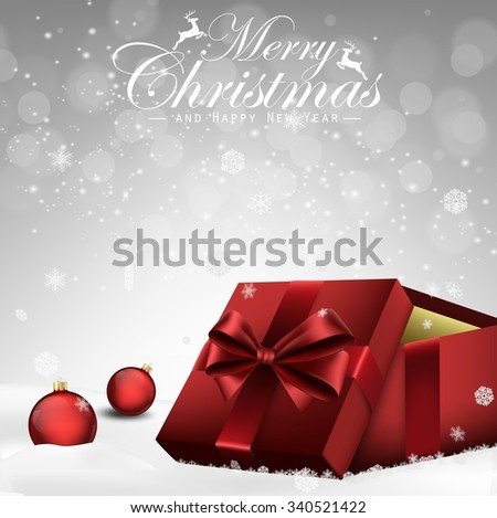 Christmas decorations balls and gift box background .Vector