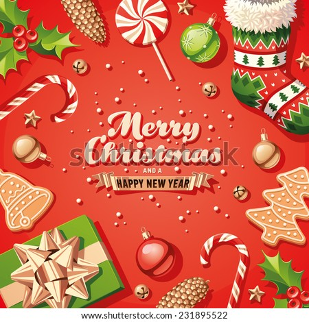 Christmas Decorations Card - stock vector