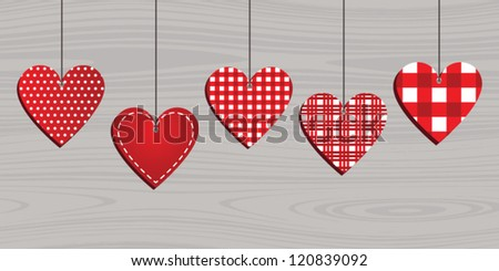 Christmas decorations hearts - stock vector