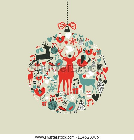Christmas decorations icons on bauble shape postcard background. Vector illustration layered for easy manipulation and custom coloring. - stock vector