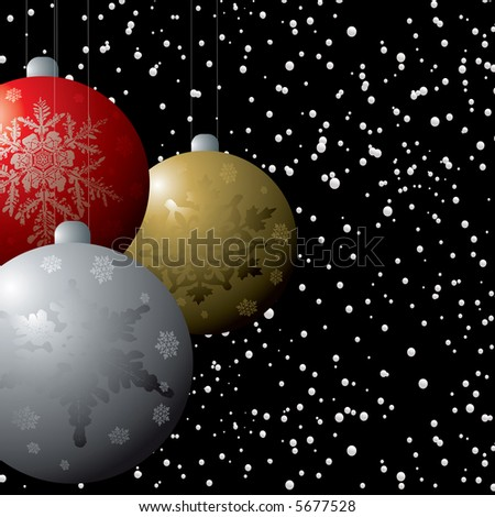 christmas decorations in a snow storm on a black winters background