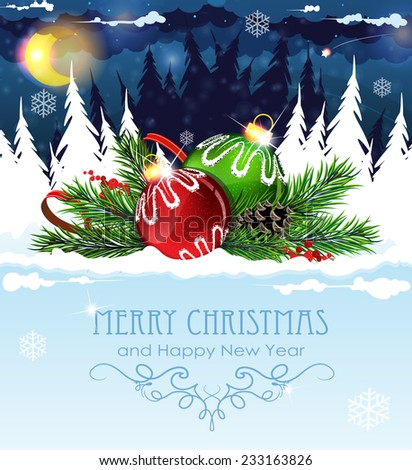 Christmas decorations in the night snow covered forest - stock vector