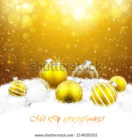 Christmas decorations in the snow. Vector illustration - stock vector