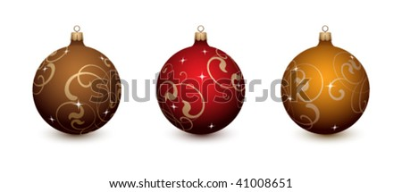 Christmas decorations on a white background - stock vector