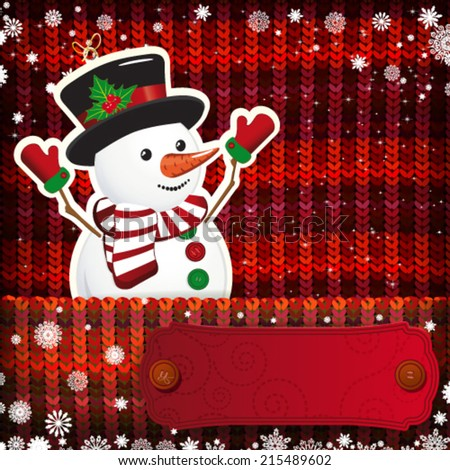 Christmas decorations on handmade knitted background. - stock vector