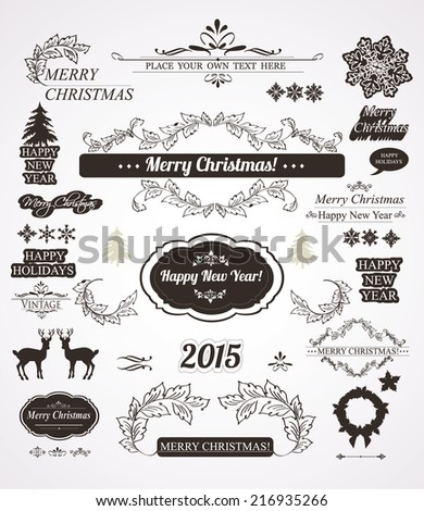 Christmas decorations set-Calligraphic and vintage labels  - stock vector