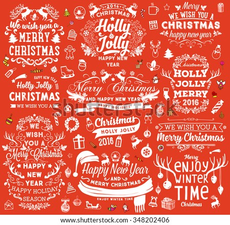 Christmas Decorations Set. Holiday Elements for Greeting Cards. Typographic Vintage Labels, Badges and Logos. Flourishes Calligraphic Collection. - stock vector