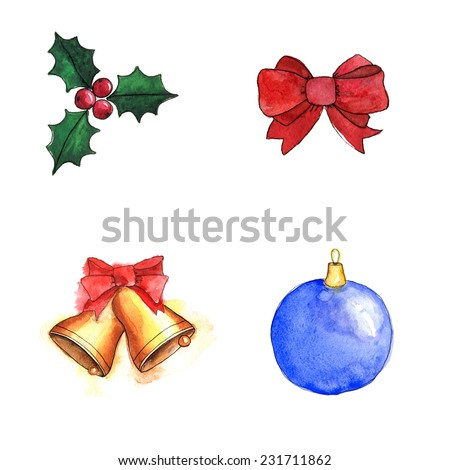 Christmas decorations set. Illustration for greeting cards, invitations, and other printing projects. Watercolor vector - stock vector