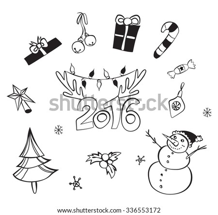 Christmas decorations set. Vector icons. Design elements collection. Cartoon  objects. Snowmen,deer, pine tree,holly berry, gifts, garlands, sweets on white Merry Christmas and Happy New 2016 Year! - stock vector