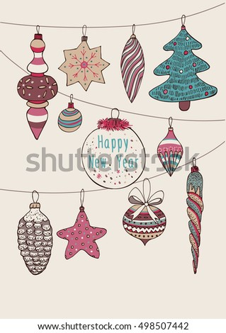 christmas decorations, vector card, new year collection.