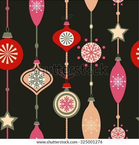 Christmas decorations. Vector set of snowflakes. New Year background seamless pattern