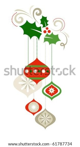 Christmas decorations with holly leaves - stock vector