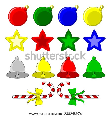 Christmas decorations with red, green, blue and gold baubles, stars, bells and candy canes  - stock vector