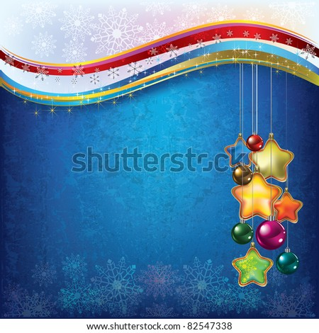 Christmas decorations with snowflakes on blue background - stock vector