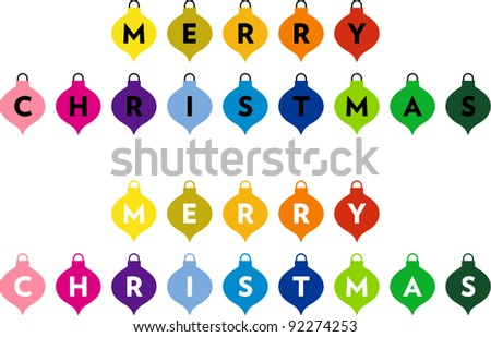 Christmas decorations with the words: Merry Christmas