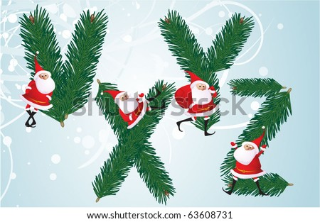 Christmas decorative fir-tree ABC with funny Santas. Letters V, X, Y, Z. Vector. - stock vector