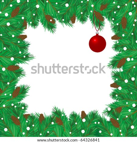 Christmas decorative frame with red ball - stock vector