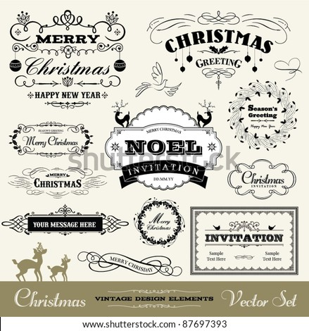Christmas decorative set - stock vector